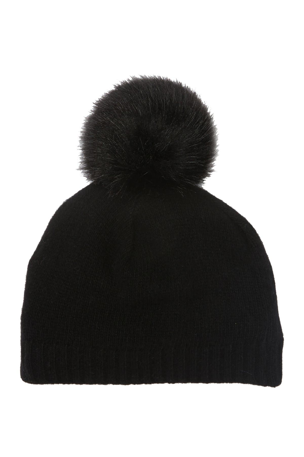Warm and cozy! Cashmere baby hat with large fox Pompom