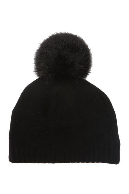 Image of Portolano Cashmere & Faux Fur Pompom Beanie