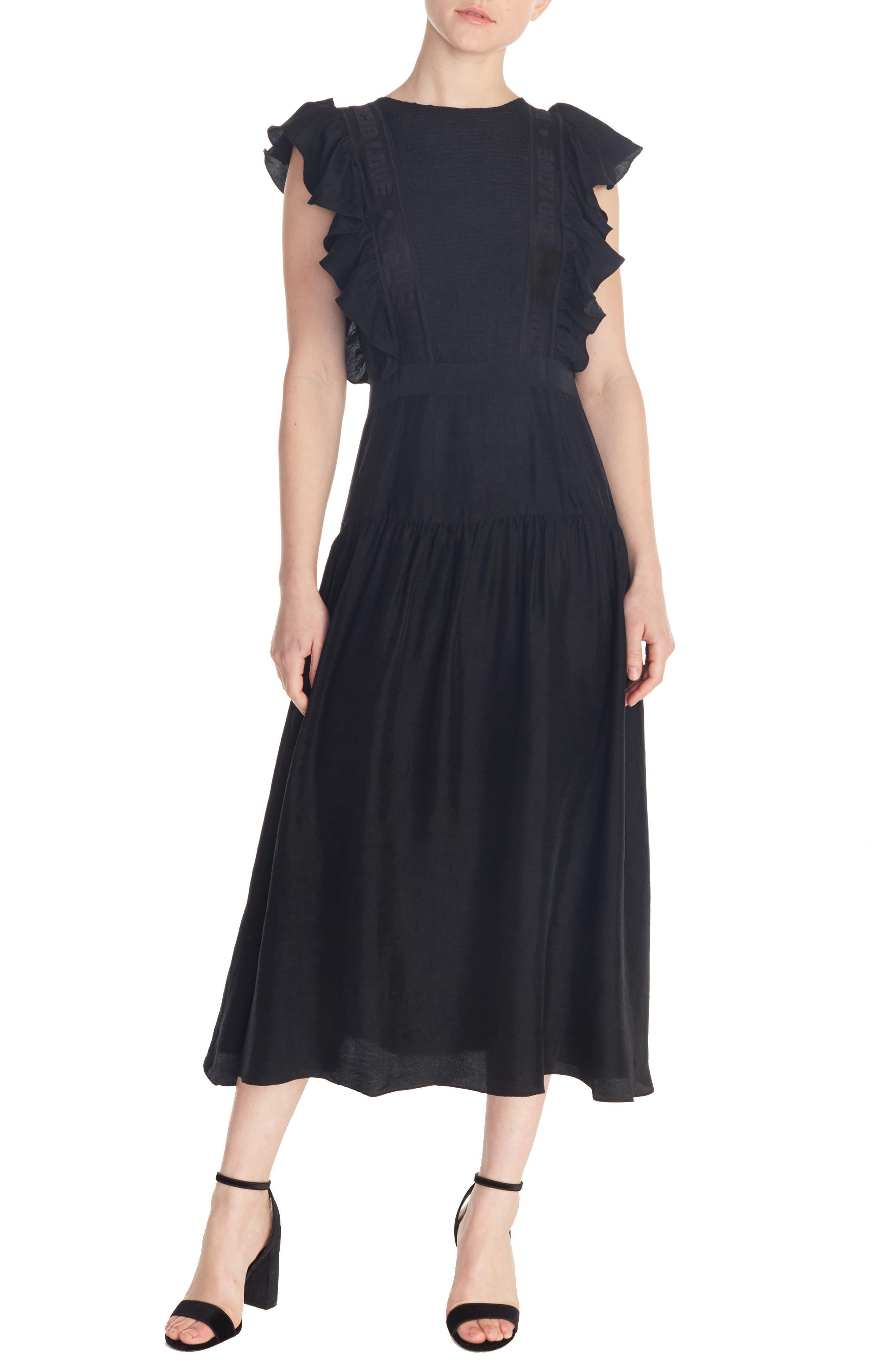 Sandro Agnesse Midi Dress, 6 FR - Black