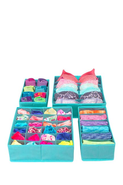 Image of Sorbus Foldable Drawer Dividers, Storage Boxes - Set of 4 - Aqua