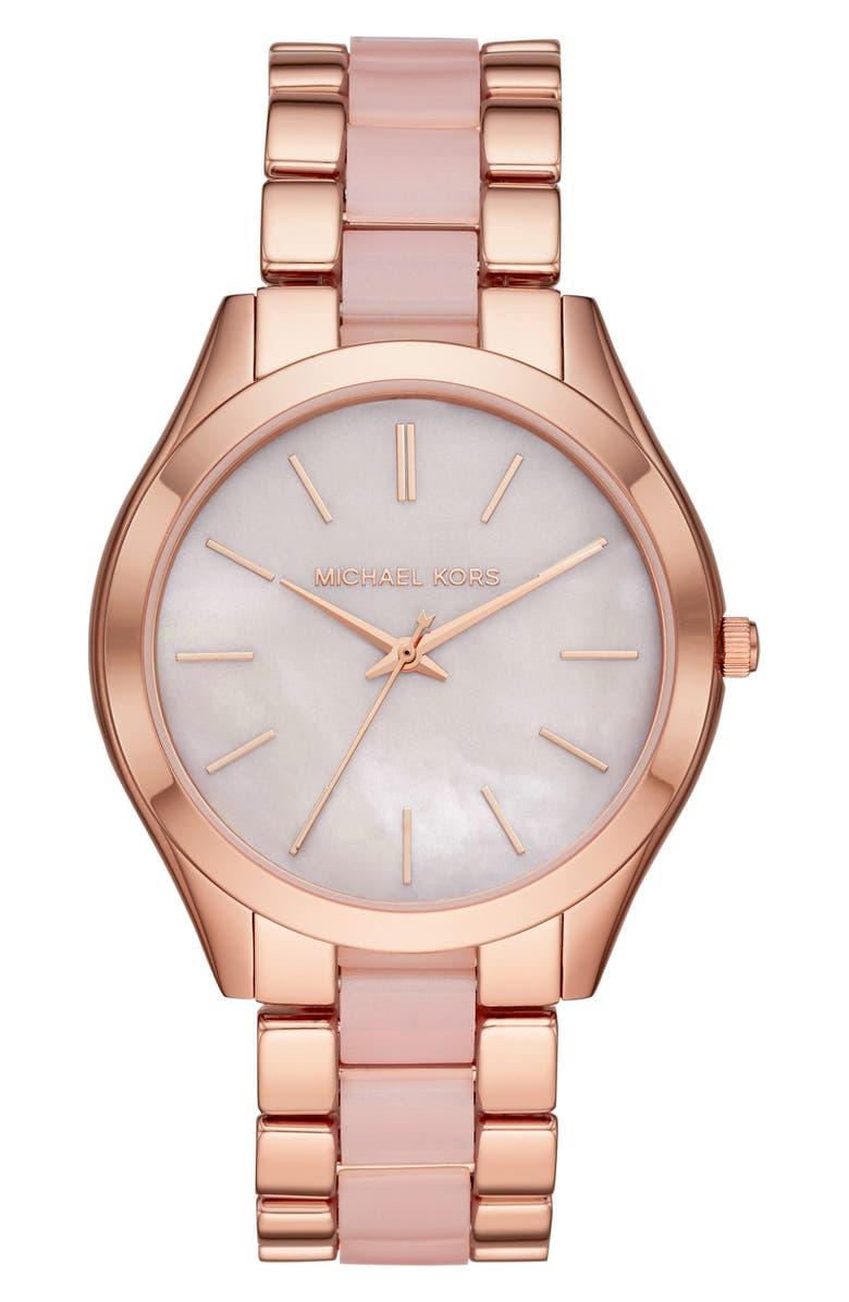 MICHAEL KORS MICHAEL Michael Kors Slim Runway Watch, 42mm, Main, color, ROSE GOLD/ MOP/ PINK
