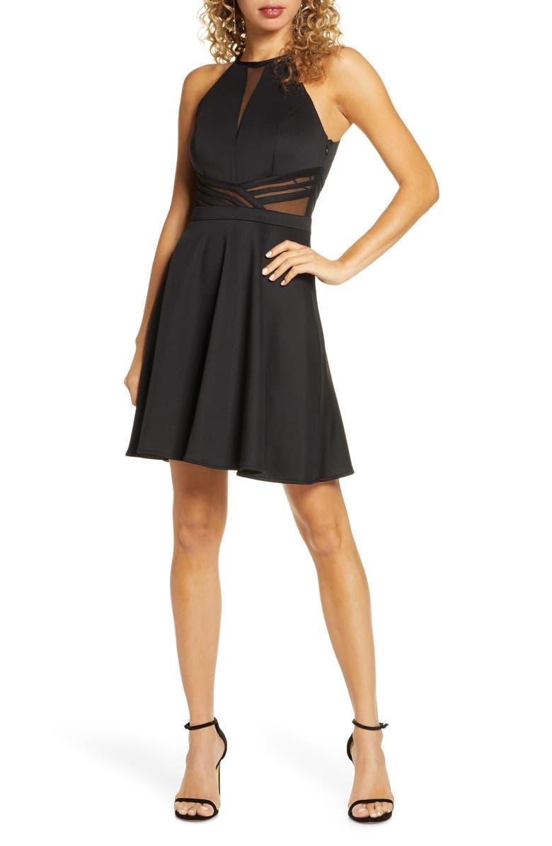 MORGAN & CO. Scuba Mesh Skater Dress, Main, color, BLACK