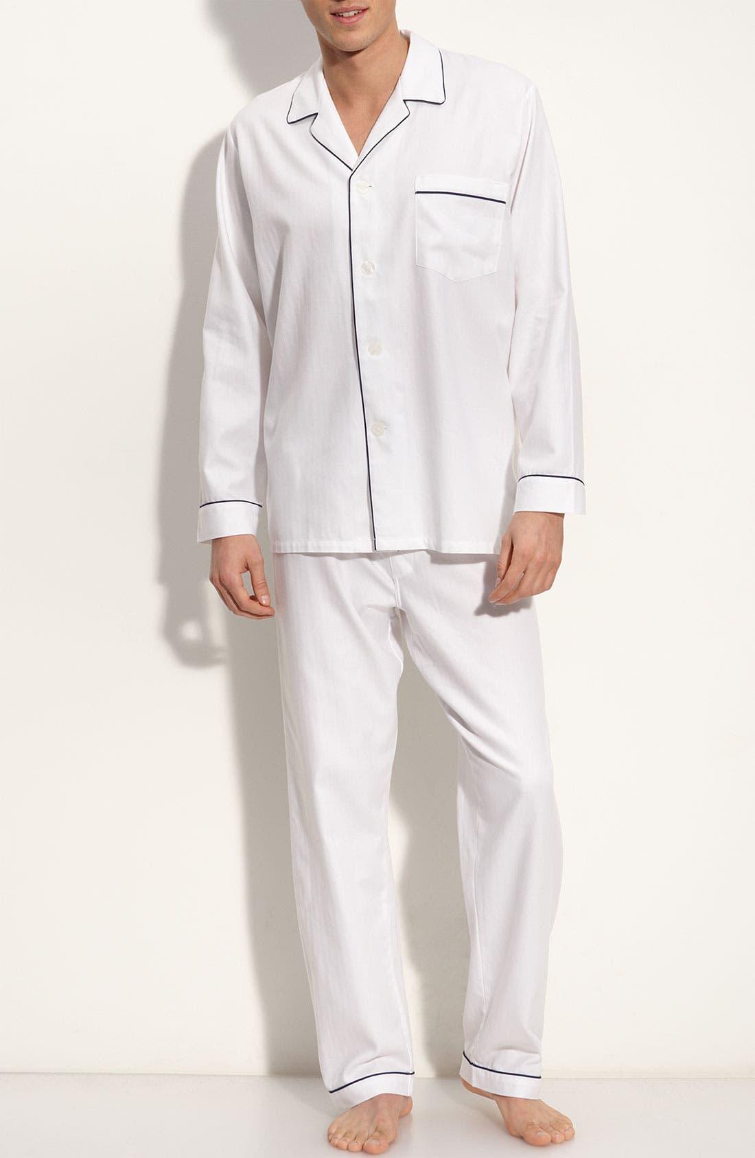 ,                             Herringbone Cotton Pajamas,                             Main thumbnail 4, color,                             100