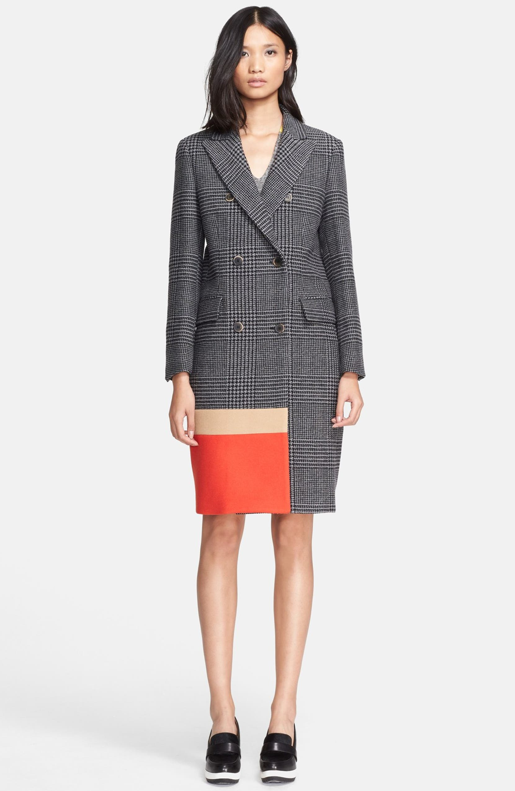 ab7b0547a24d MSGM Double Breasted Colorblock Prince of Wales Coat | Nordstrom