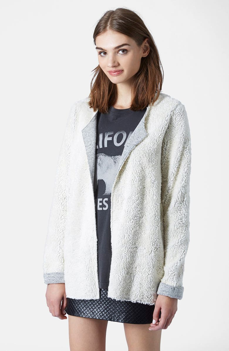 TOPSHOP Faux Shearling Open Front Cardigan, Main, color, 900