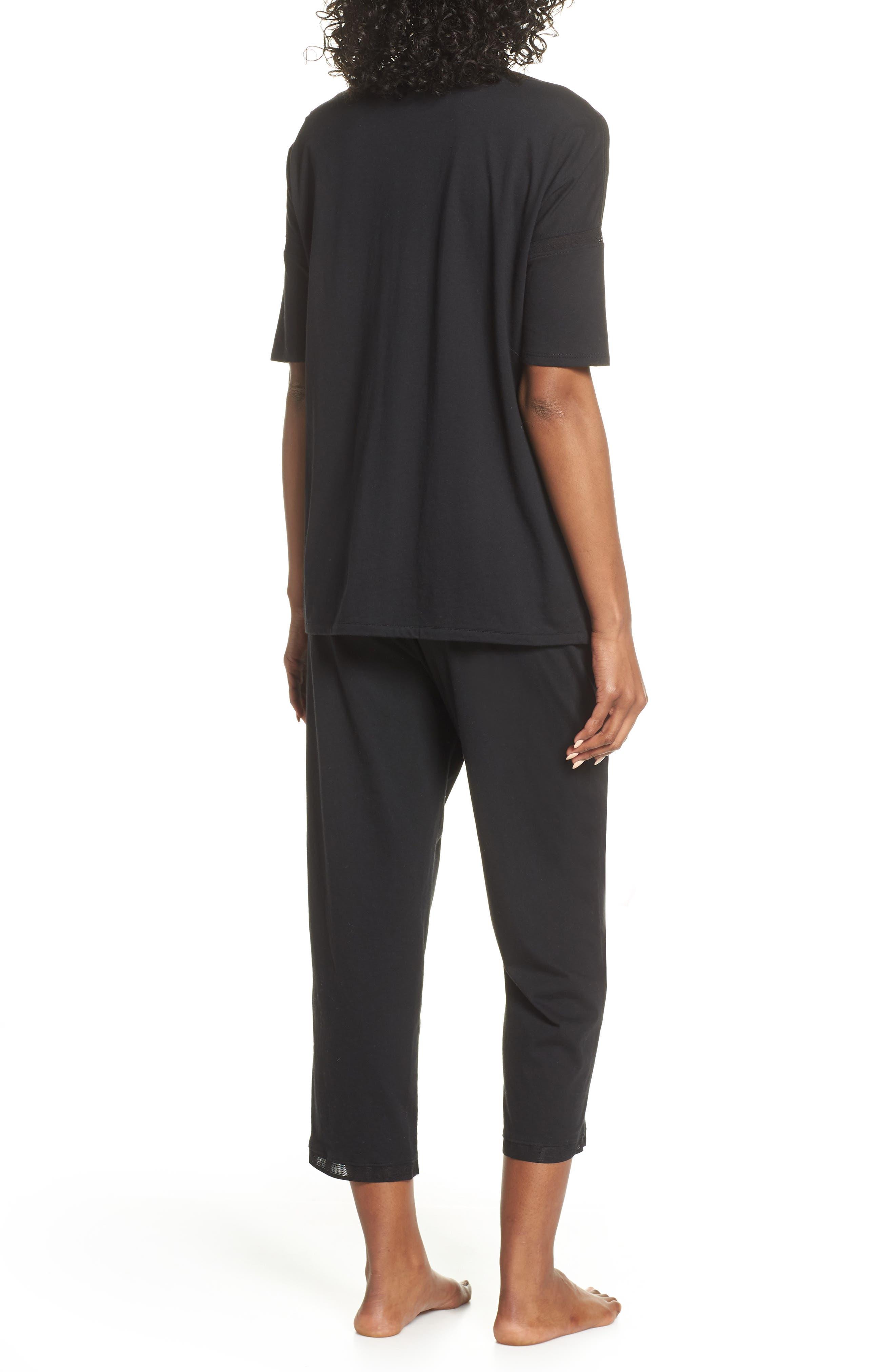,                             Crop Pajamas,                             Alternate thumbnail 2, color,                             BLACK