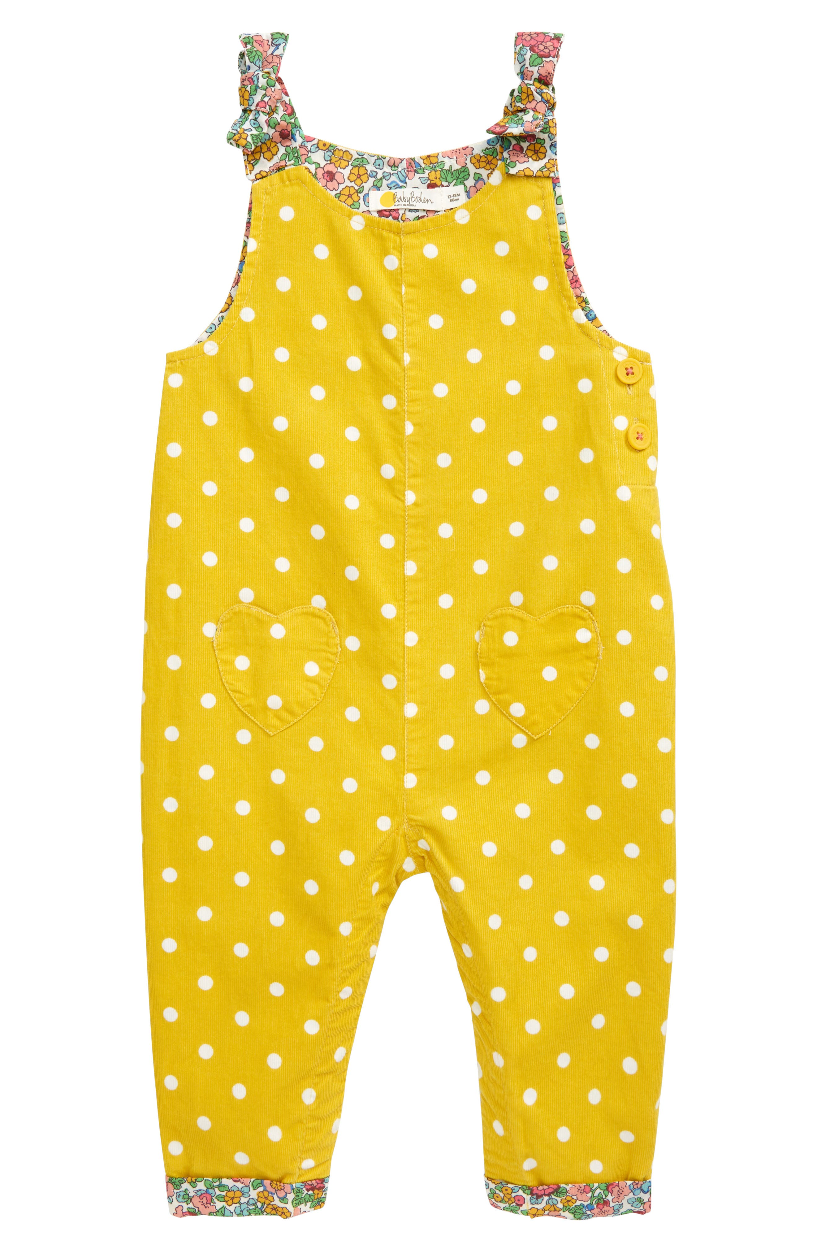 Playful polka dots and darling flowers detail comfy corduroy overalls that are easy to layer and will be perfect for your little one\\\'s season-spanning wardrobe. Style Name: Mini Boden Corduroy Overalls (Baby). Style Number: 6099276. Available in stores.