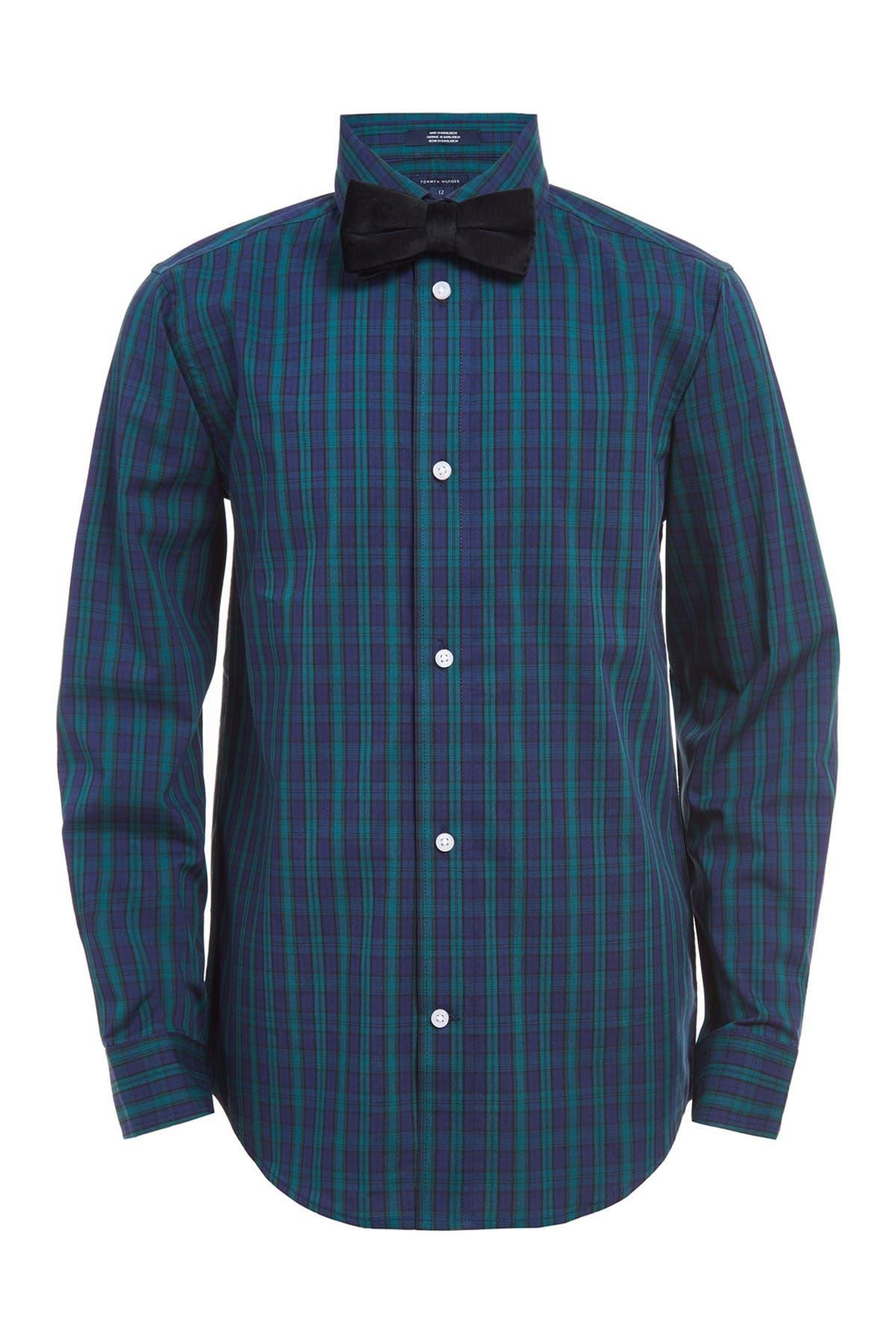 Image of Tommy Hilfiger Mini Tartan Shirt & Bow Tie