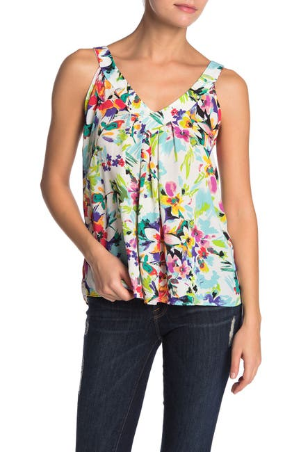 Image of Chenault Floral Print Caged Back Tank Top