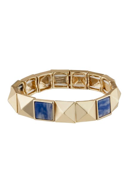 Image of Jardin Pyramid Stud Semi Precious Sodalite Stretch Bracelet