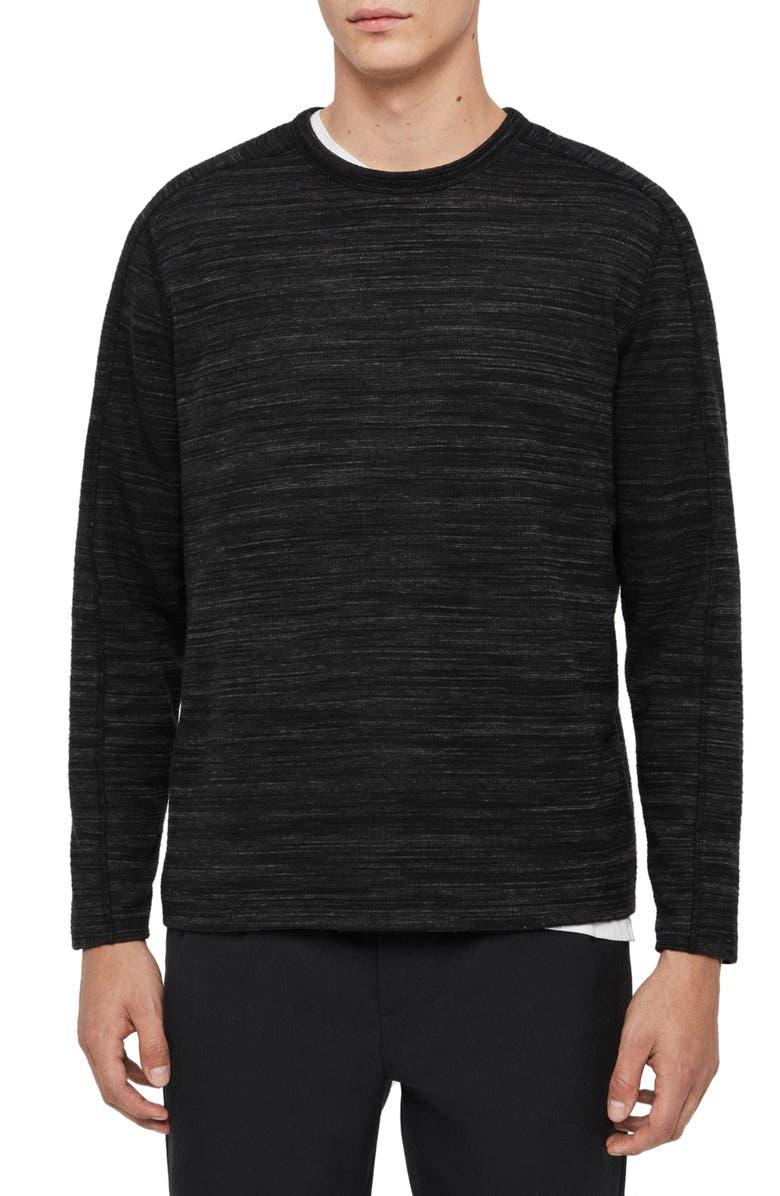 ALLSAINTS Gannet Long Sleeve Mélange T-Shirt, Main, color, CHARCOAL MARL