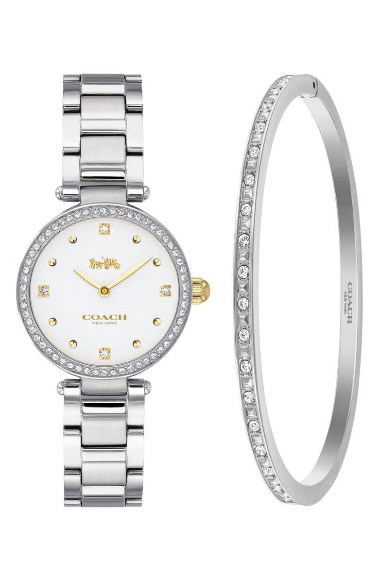 COACH Park Crystal Bracelet Watch, 26mm and Bangle Bracelet, Main, color, SILVER