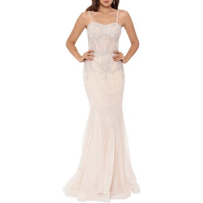 Xscape Crystal Beaded Embroidered Lace Mermaid Gown, Pink