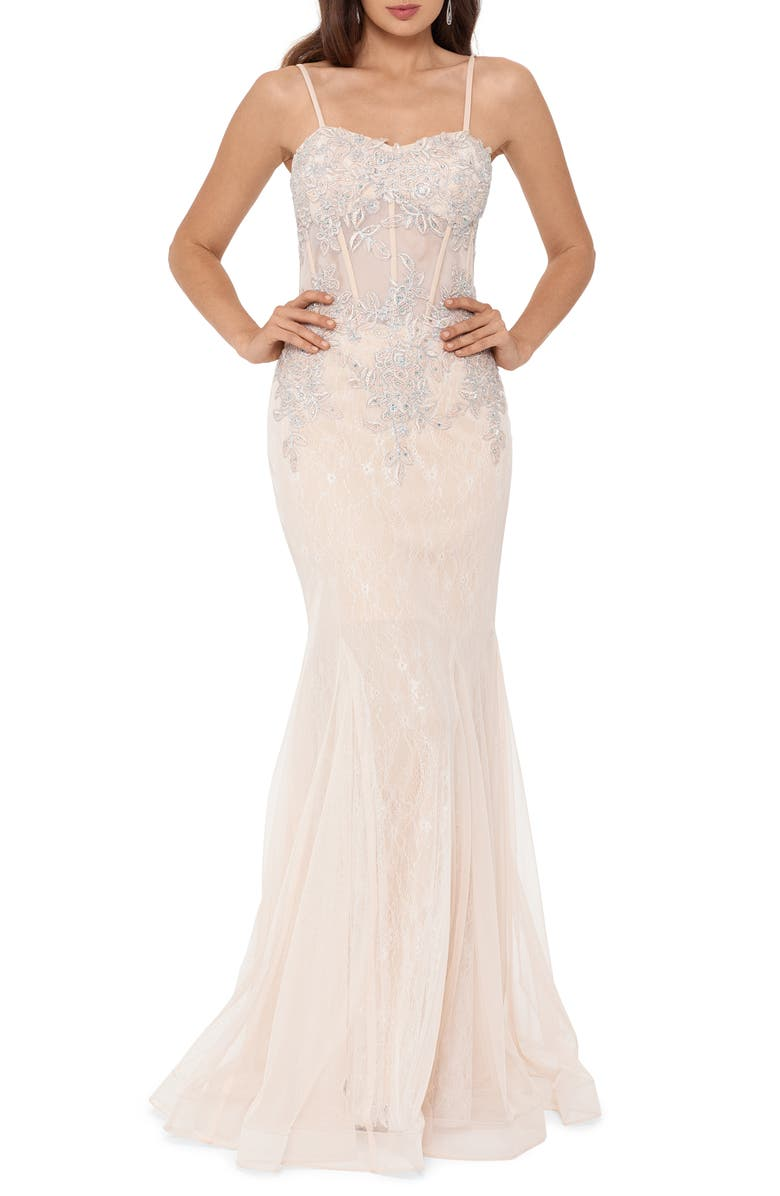 XSCAPE Crystal Beaded Embroidered Lace Mermaid Gown, Main, color, 650