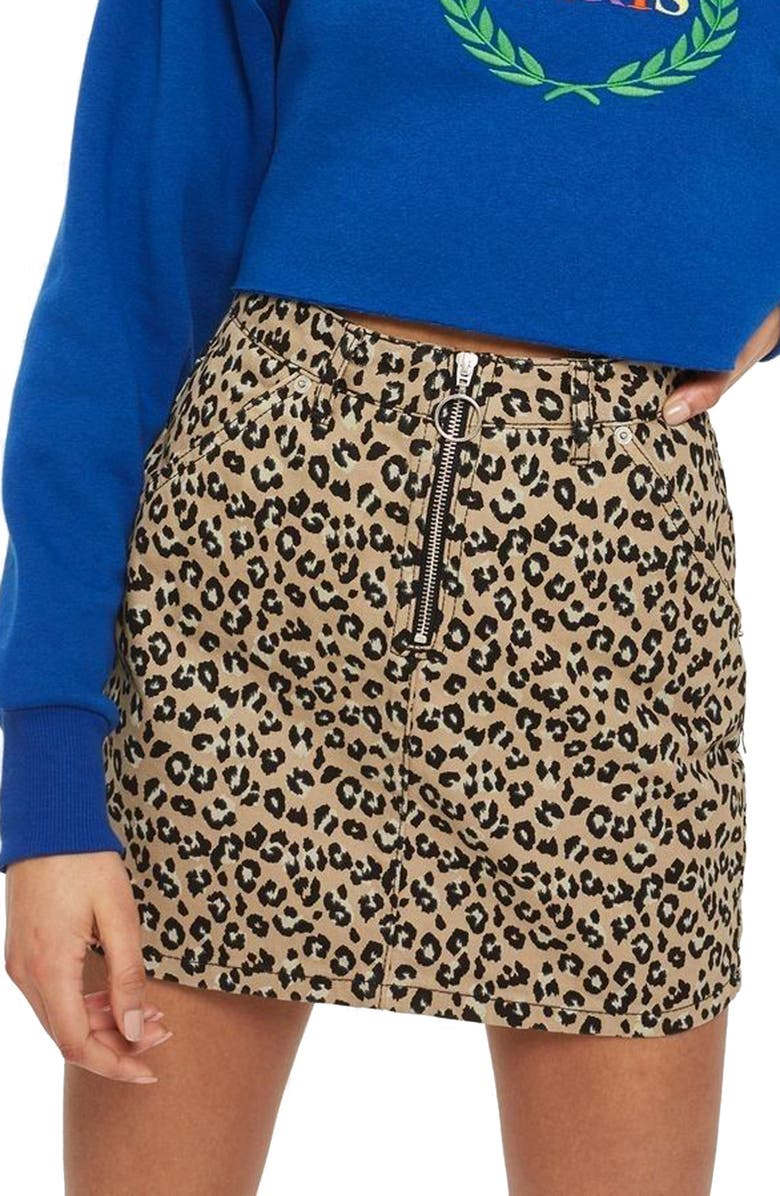 TOPSHOP Half Zip Leopard Print Denim Skirt, Main, color, 210