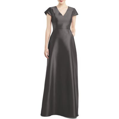 Alfred Sung V-Neck Satin Cap Sleeve Gown, Grey