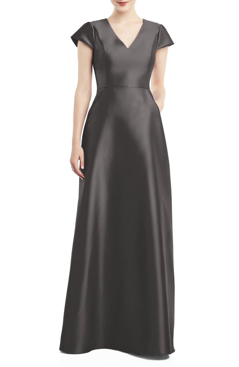ALFRED SUNG V-Neck Satin Cap Sleeve Gown, Main, color, CAVIAR