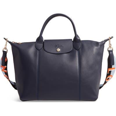 Longchamp Le Pliage Cuir Lambskin Leather Tote - Blue