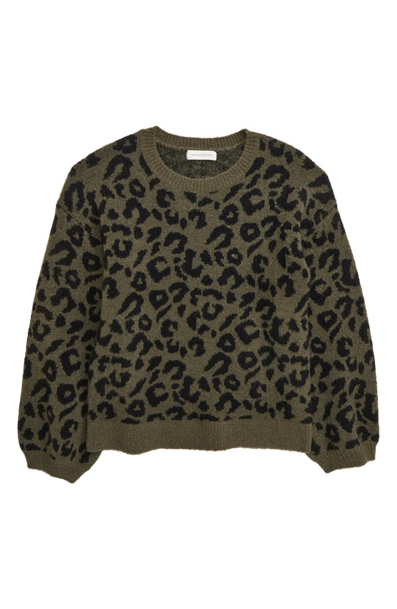 TREASURE & BOND Leopard Sweater, Main, color, OLIVE SARMA LEOPARD