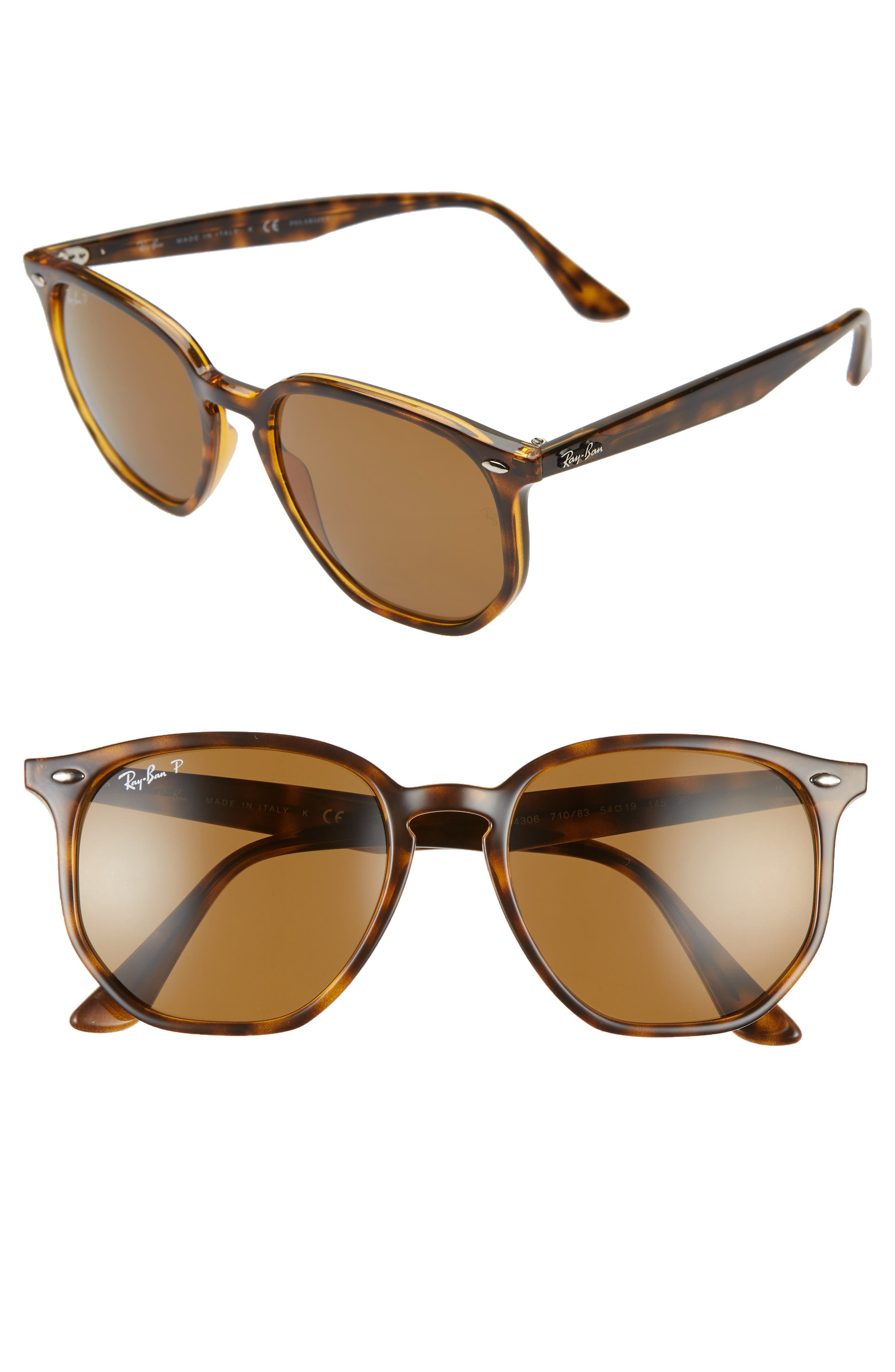 Ray-Ban 5m Polarized Round Sunglasses - Havana/ Brown Solid