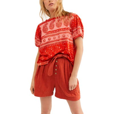 Free People Paisley Top, Red