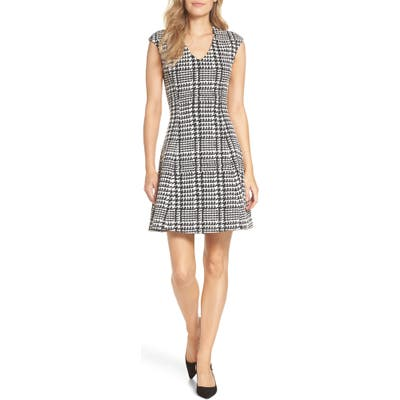 Forest Lily Houndstooth Jacquard Fit & Flare Dress, Black