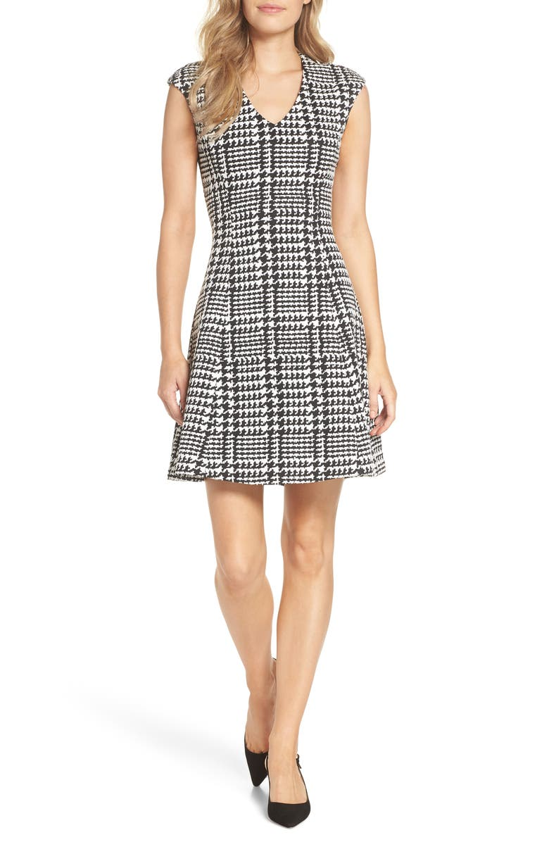 FOREST LILY Houndstooth Jacquard Fit & Flare Dress, Main, color, BLACK / WHITE