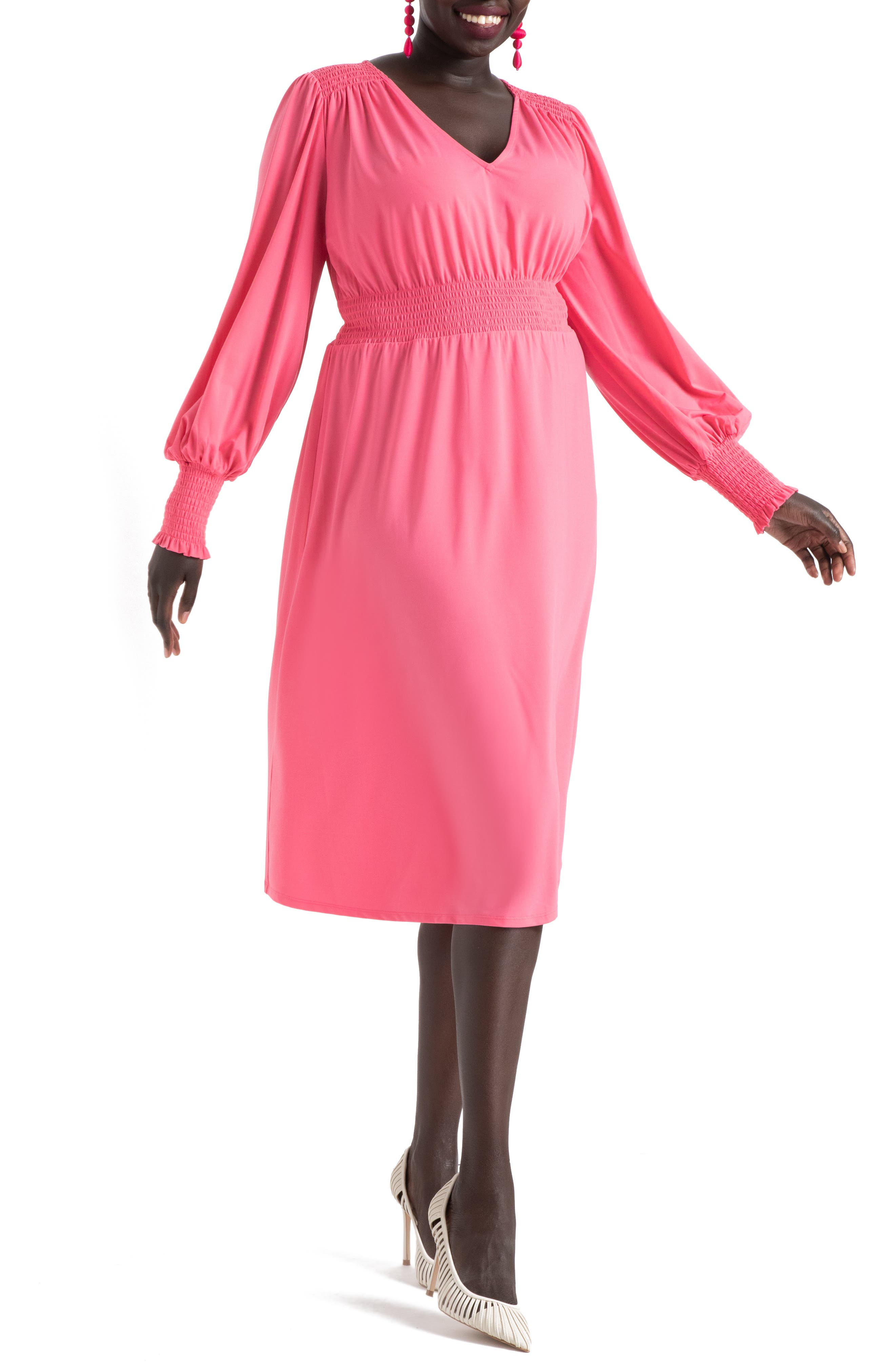 Smocked Waist Long Sleeve Midi Dress