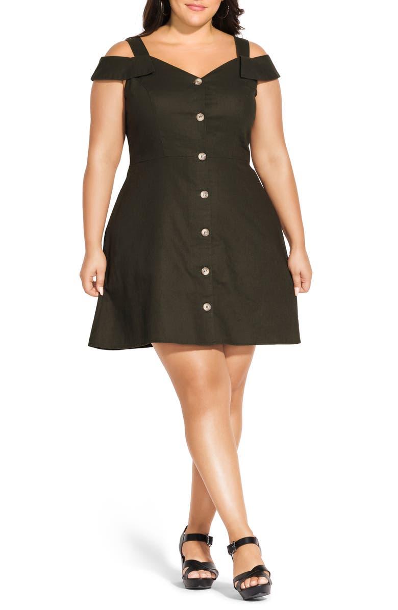 CITY CHIC Safari Cold Shoulder Linen Blend Dress, Main, color, MILITARY