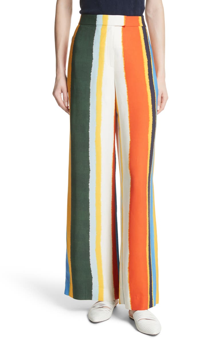 TORY BURCH Fiona Stripe Wide Leg Pants, Main, color, 108