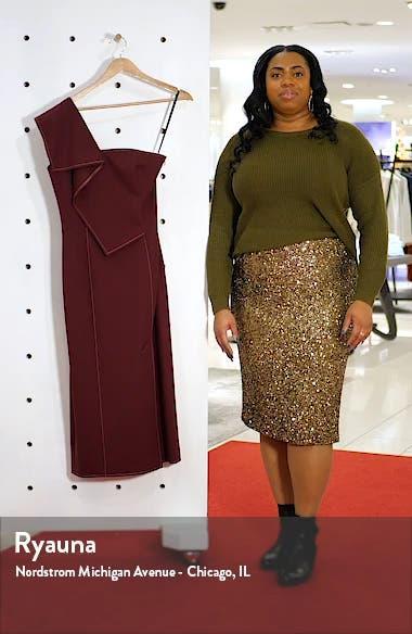 Ruffle One-Shoulder Twill Midi Dress, sales video thumbnail