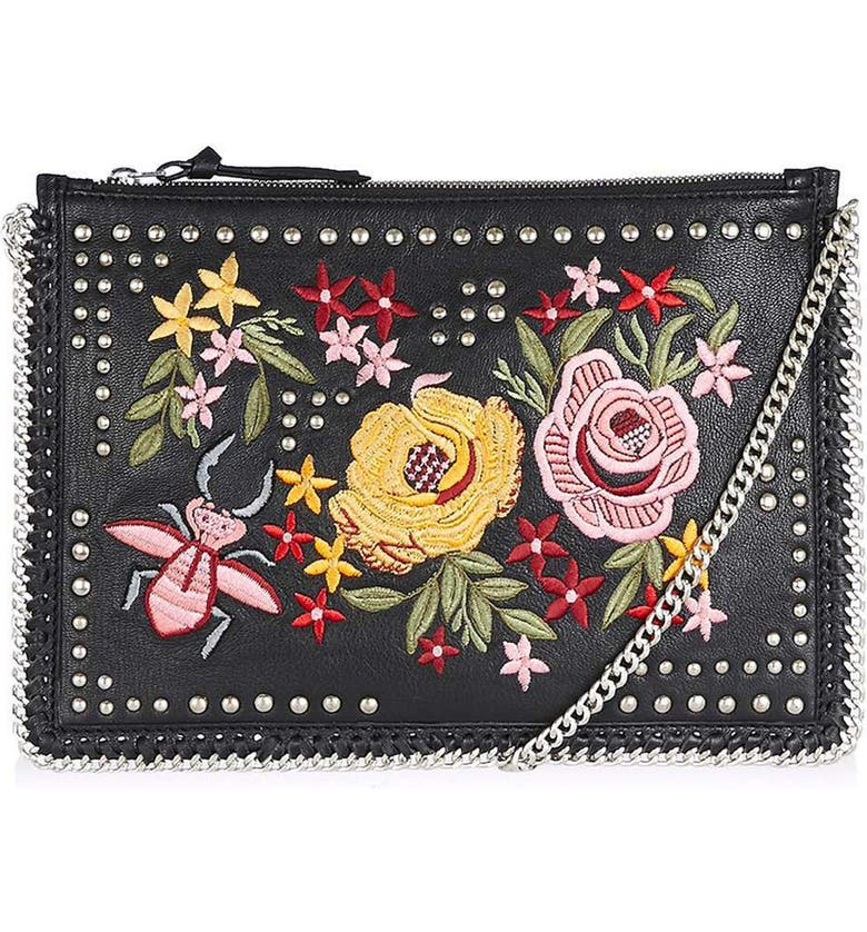 TOPSHOP Oto Embroidered Crossbody, Main, color, 001
