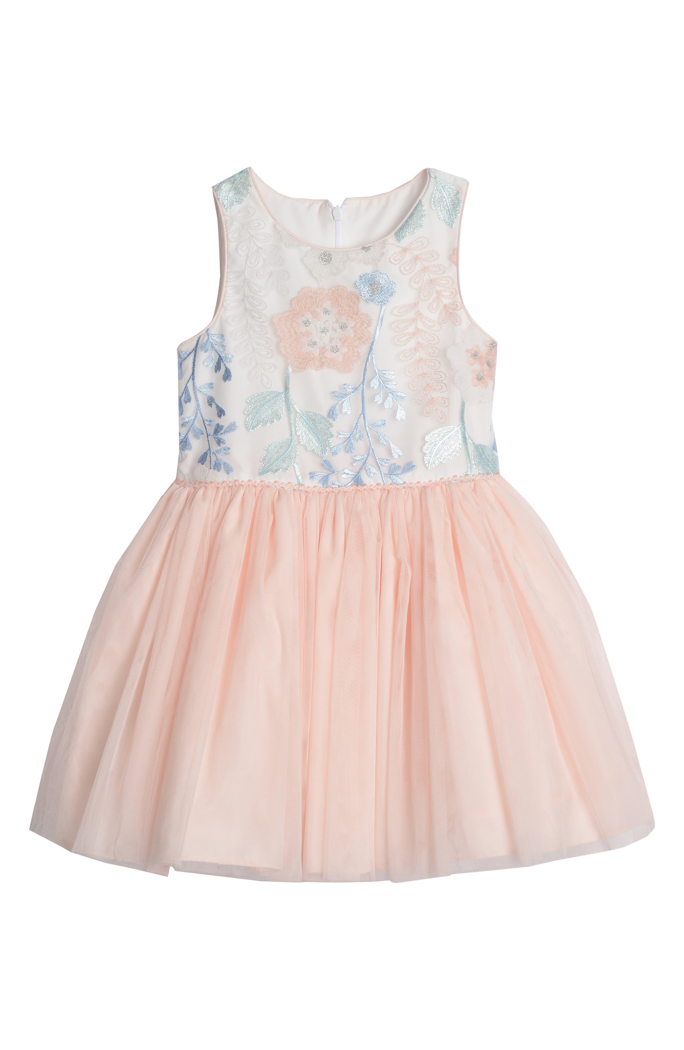 ,                             Floral Embroidered Tutu Dress,                             Main thumbnail 1, color,                             PEACH