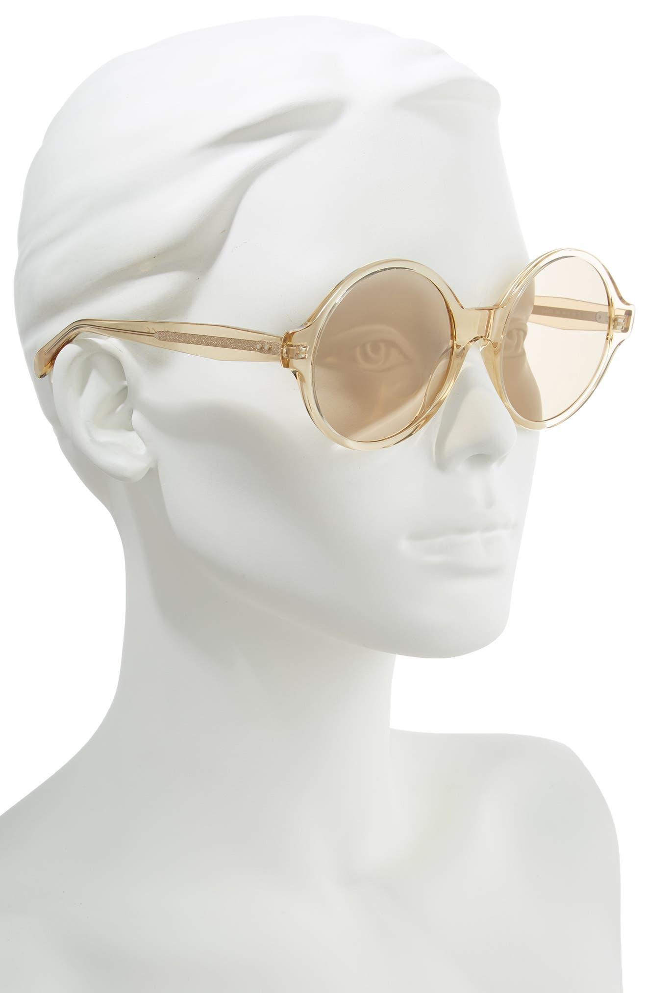 ,                             58mm Round Sunglasses,                             Alternate thumbnail 2, color,                             TRANSPARENT OCHRE/ LIGHT BROWN