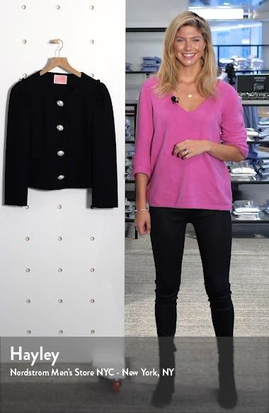 jewel snap frill sleeve ponte jacket, sales video thumbnail