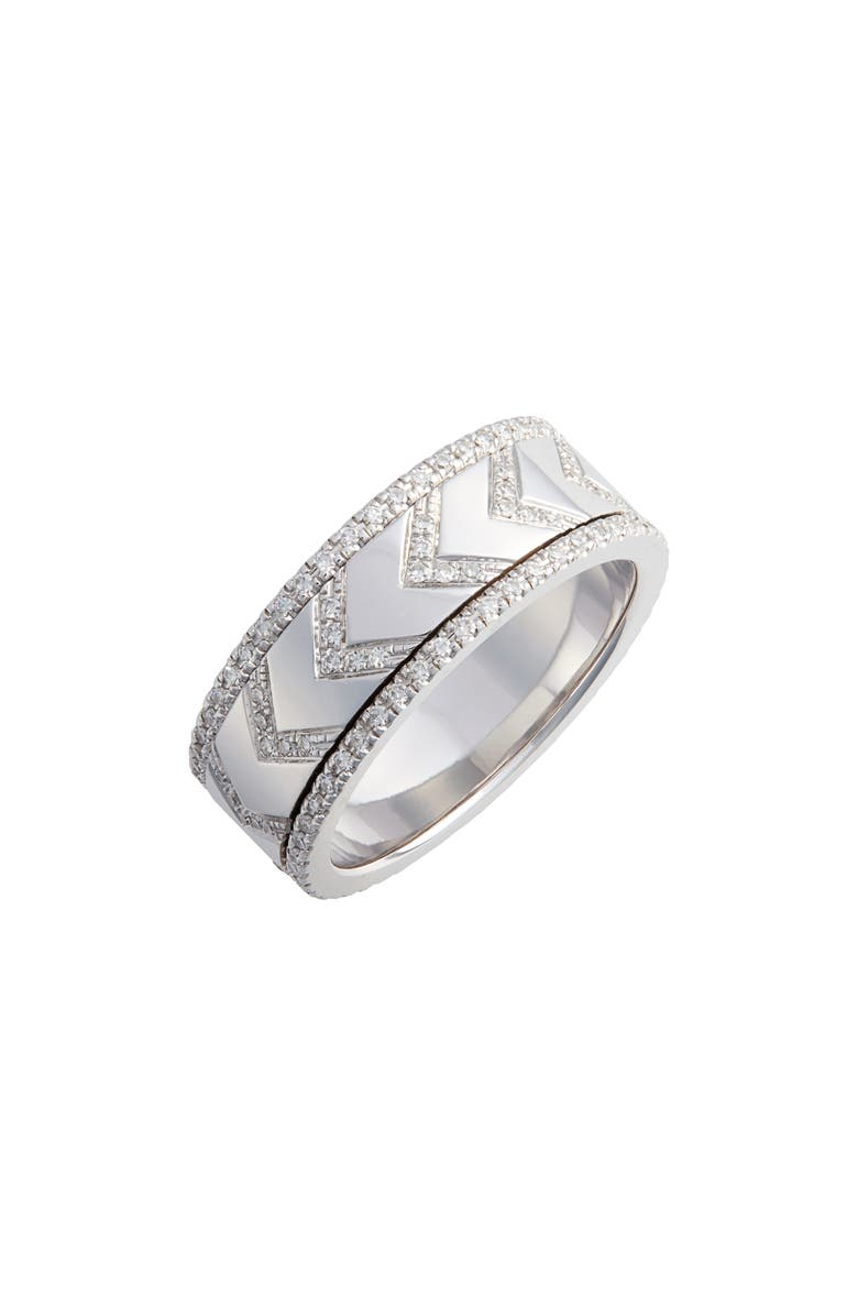 EF COLLECTION Diamond Chevron Spinning Ring, Main, color, WHITE GOLD/ DIA