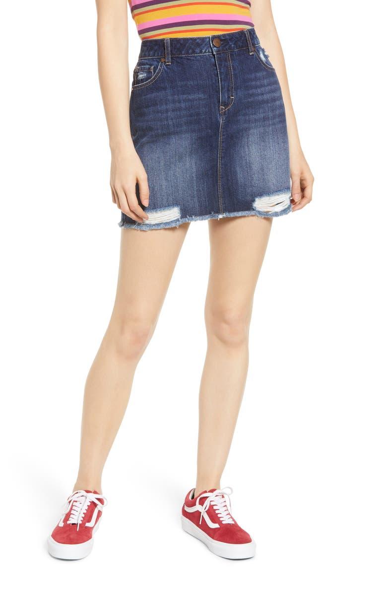 1822 DENIM Ripped Denim Miniskirt, Main, color, LYDIA