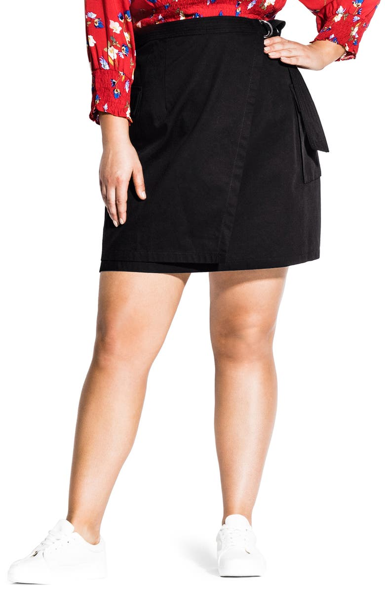 CITY CHIC Cargo Pocket Cotton Miniskirt, Main, color, 001