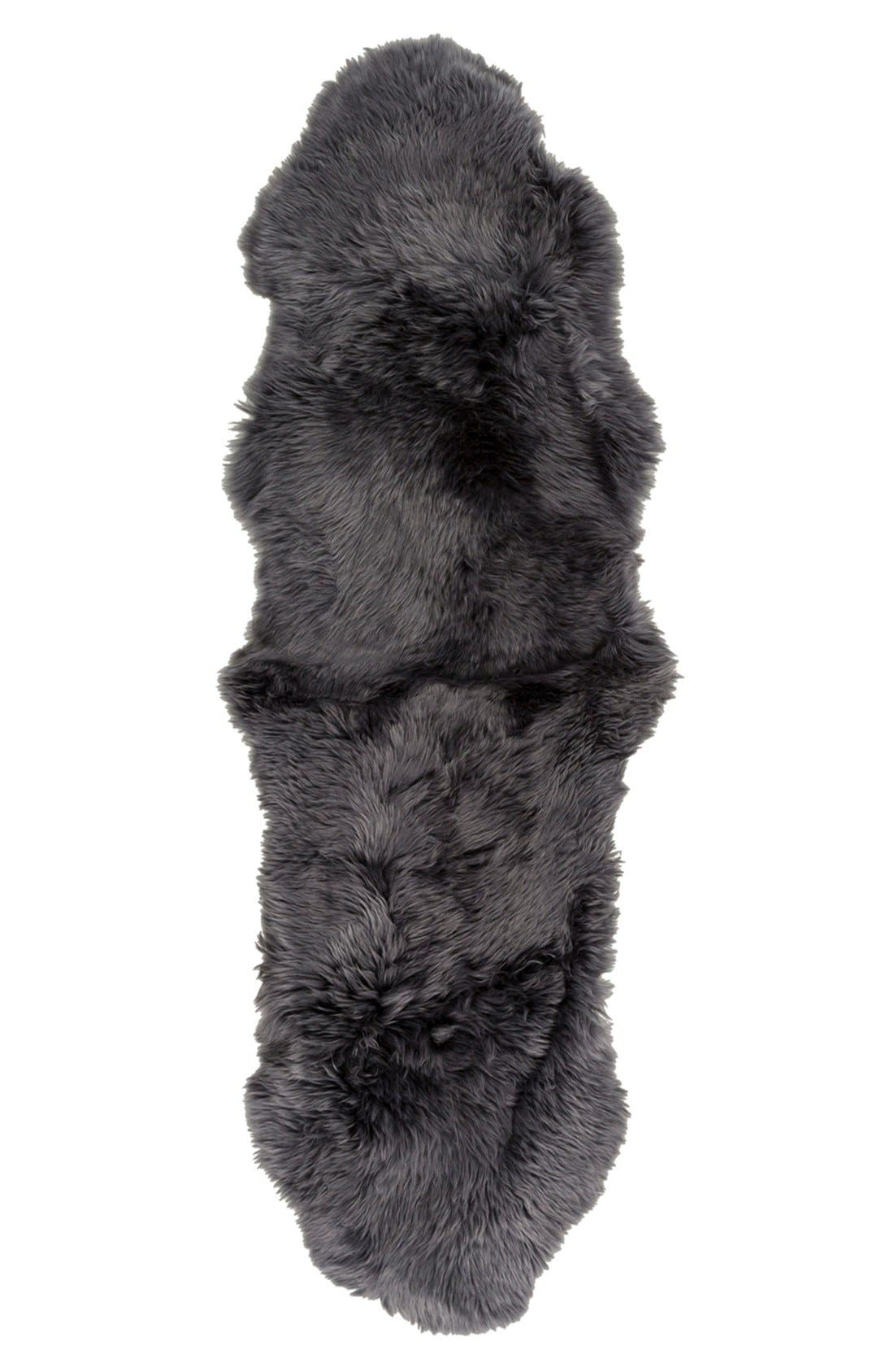 ,                             Genuine Shearling Rug,                             Alternate thumbnail 5, color,                             GREY