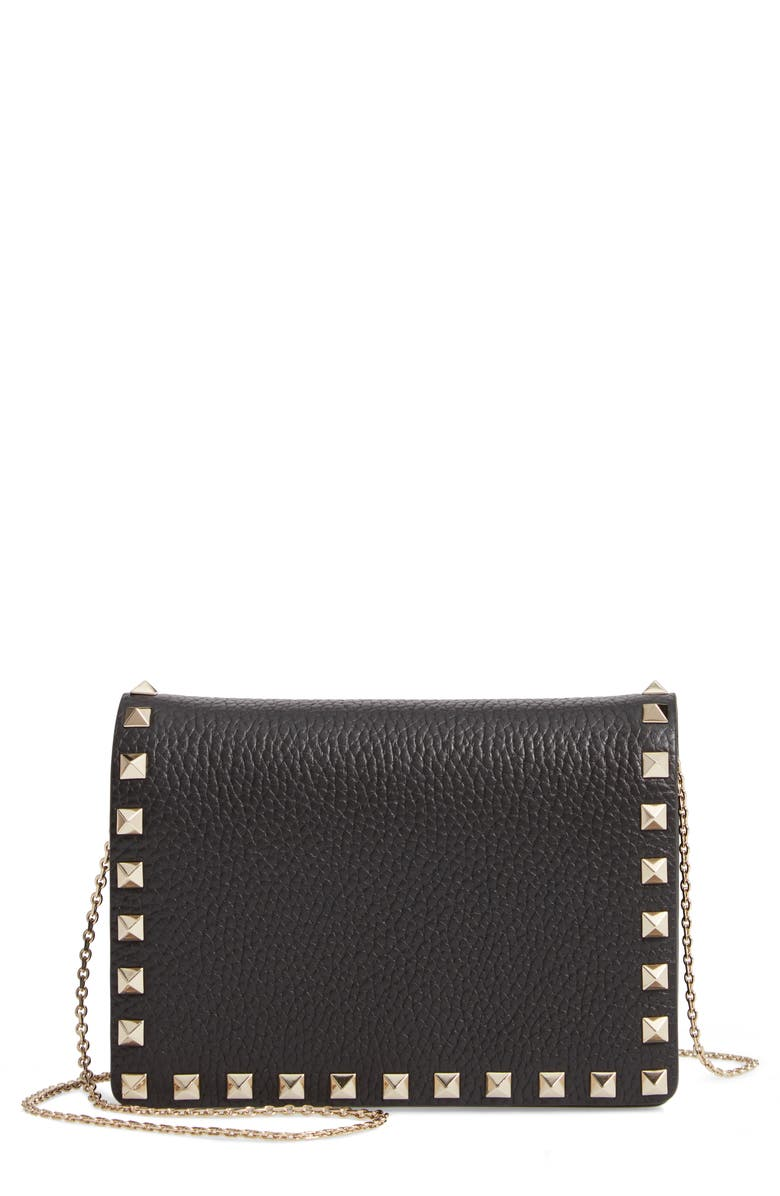 VALENTINO GARAVANI Rockstud Leather Pouch Wallet on a Chain, Main, color, NERO