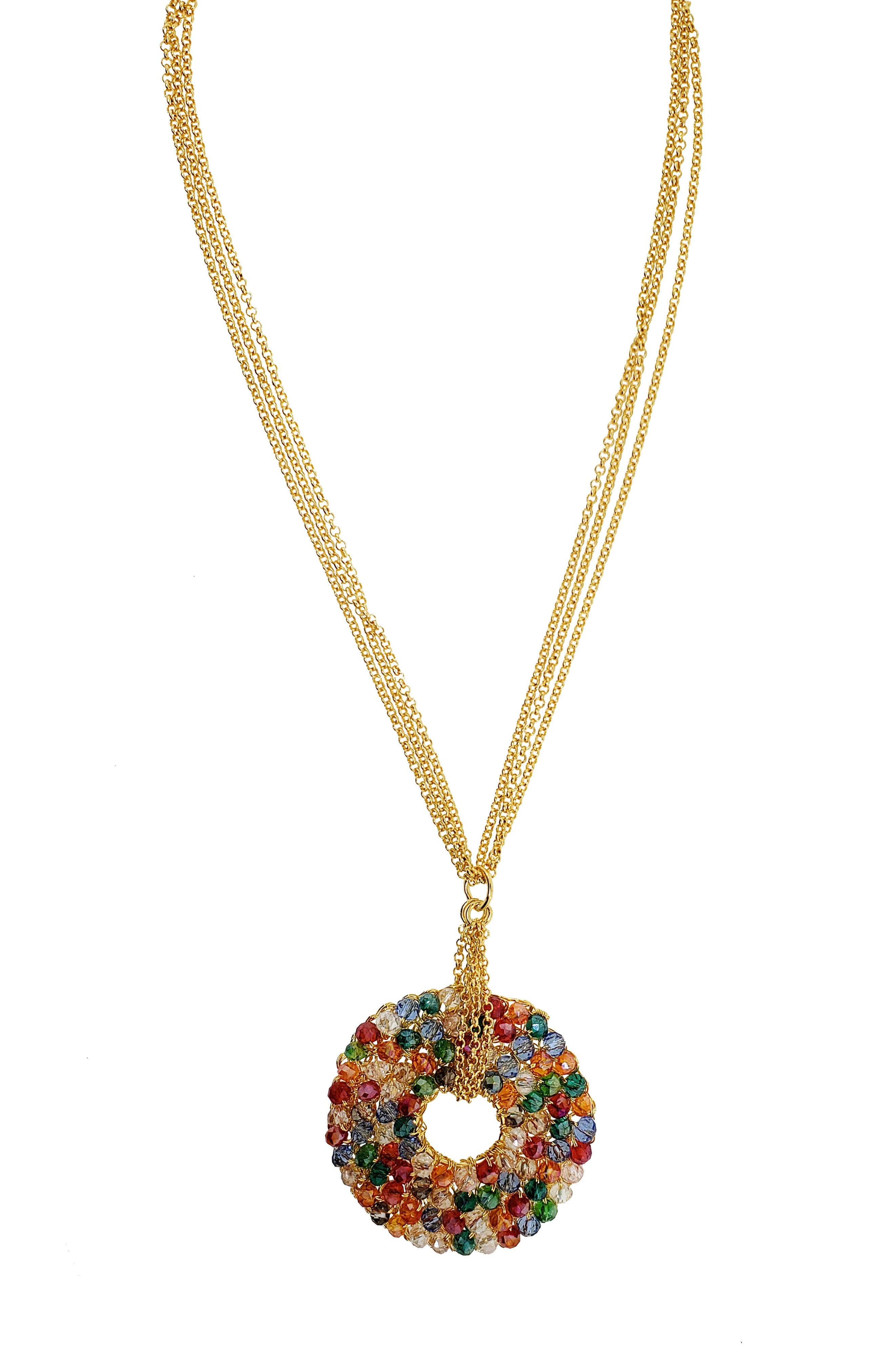 Beaded Disc Pendant Necklace