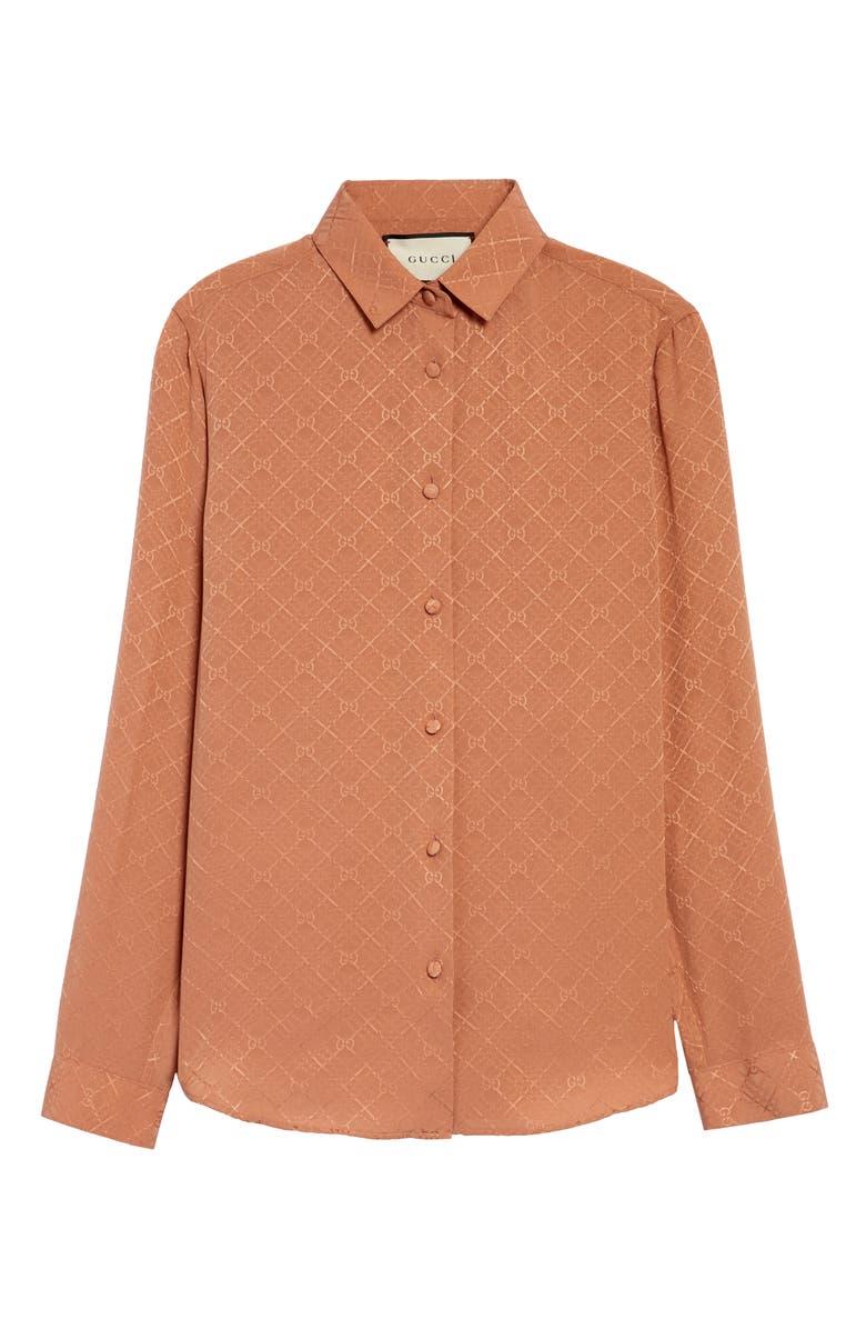 GUCCI GG Check Silk Crêpe Jacquard Shirt, Main, color, ROSE DUST