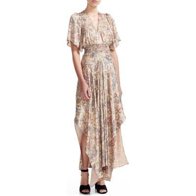 Maje Rachel Paisley Smocked Waist Asymmetrical Maxi Dress, Beige