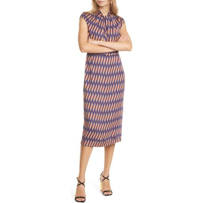 Judith & Charles Geo Print Cap Sleeve Midi Dress, Blue