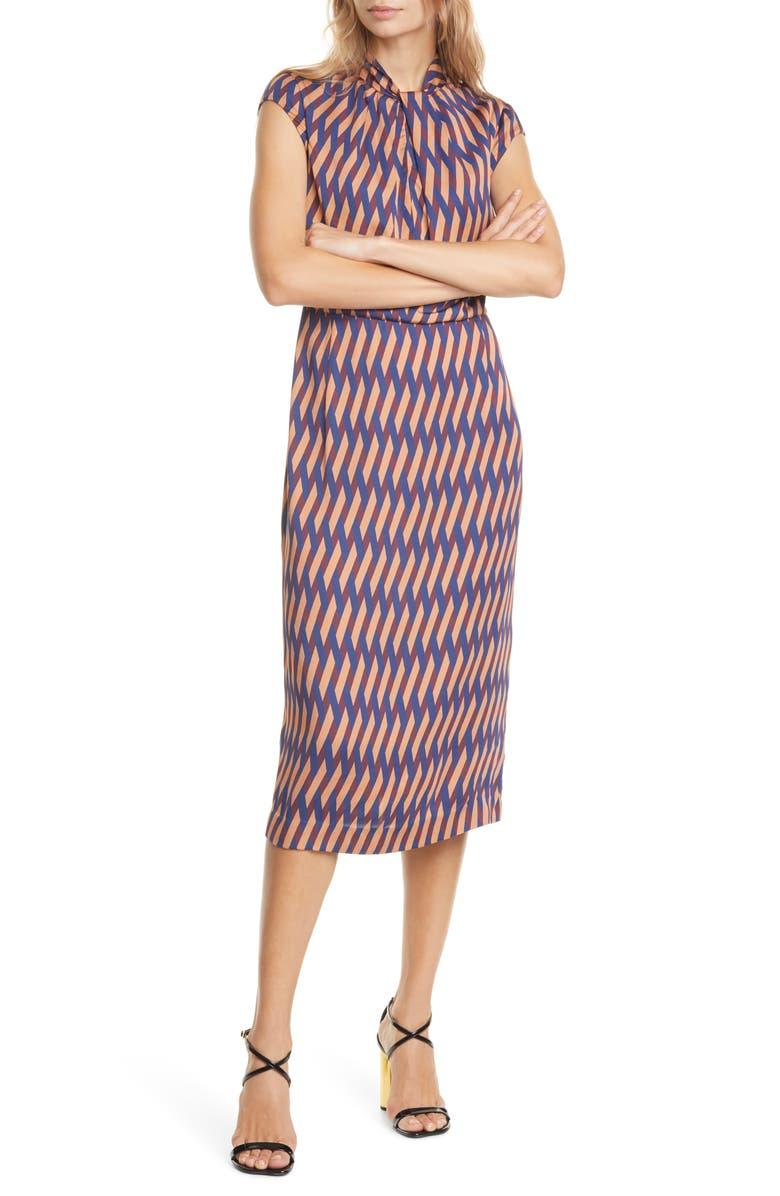 JUDITH & CHARLES Geo Print Cap Sleeve Midi Dress, Main, color, NAVY/ RUST PRINT