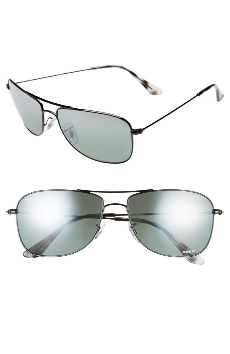 RAY-BAN 59mm Chromance Aviator Sunglasses, Main, color, 001