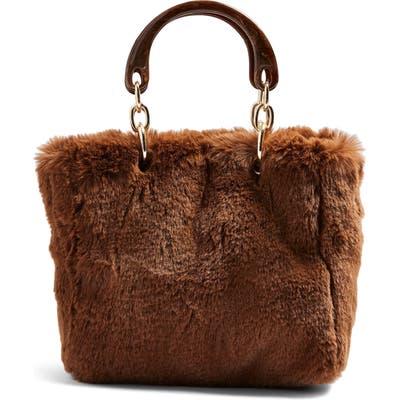 Topshop Faith Faux Fur Top Handle Bag - Brown