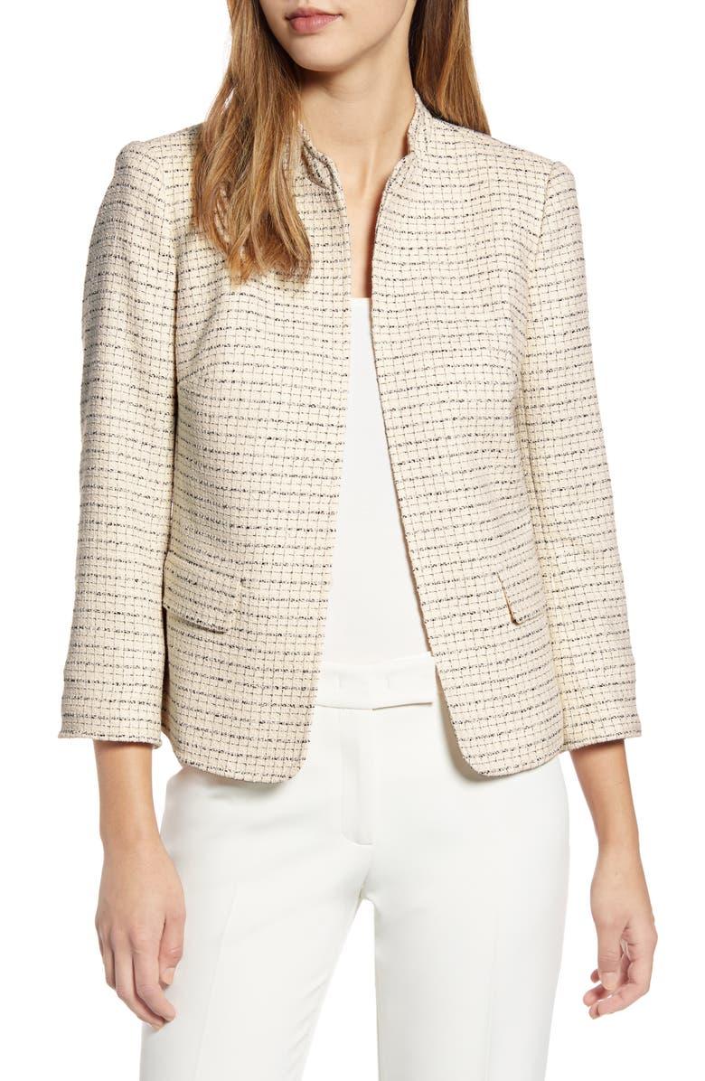ANNE KLEIN Tweed Mandarin Collar Jacket, Main, color, ANNE WHITE COMBO