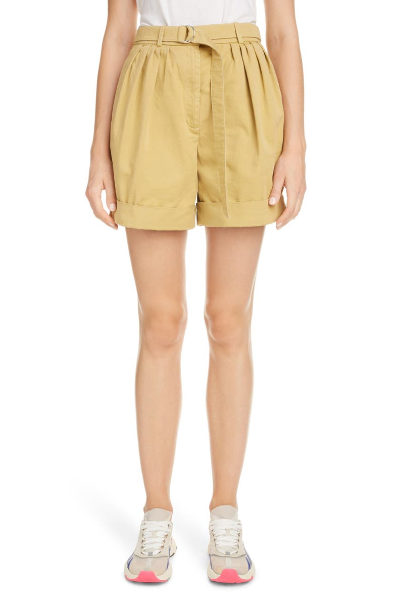 ACNE STUDIOS Rowanne Belted Cotton Twill Shorts, Main, color, ALMOND BEIGE