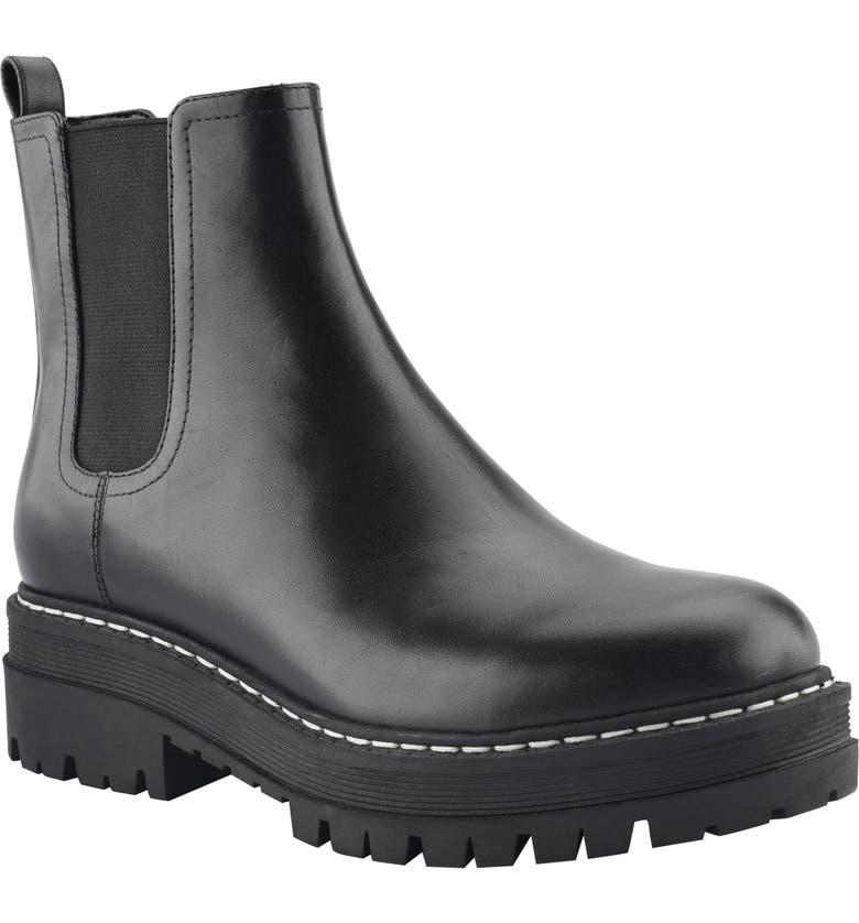 MARC FISHER LTD Padmia Chelsea Boot, Main, color, BLACK/ BLACK LEATHER